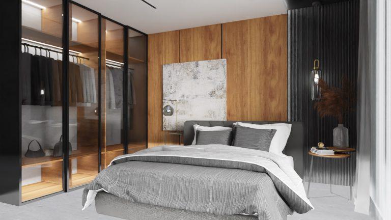 Salon nowczesny, drewno, ciemne ściany